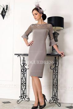 Sheath/Column Jewel Knee-length Satin Mother of the Bride Dress