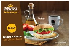 In a bit of localized flavor, McDonald's is offering a new, limited-time Grilled Halloum on Ciabatta breakfast sandwich in Kuwait . Kuwait Food, Mcdonalds Breakfast, Fast Food Items, Halloumi, Ciabatta, Kfc, Advertising Design, Burgers, Connect