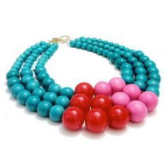 The Bird of Paradise Necklace by Irene Wood combines three sets of wood and resin beads in a jubilant palette of luminous color. Like the rest of this collection, it is inspired by tribal wear and adornments of ancient royalty. This year, treat yourself like a Queen with this surprisingly lightweight design.  FAB.com
