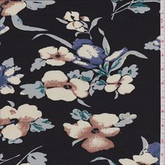 Black Floral Challis - 28376 - Fabric By The Yard At Discount Prices