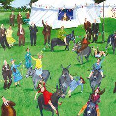 'The Donkey Derby' by Painter Stephanie Lambourne. Blank Art Cards By Green Pebble. www.greenpebble.co.uk