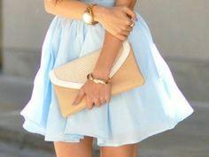 1-jolie-robe-de-soirée-courte-bleu-ciel-pour-les-filles-modernes-sac-a-main-beige Photos, Skirts, Bags, Fashion, Bright Blue Dresses, Evening Dresses, Daughters, Purse, Outfit