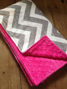 Gray and hot pink chevron Minky blanket!!