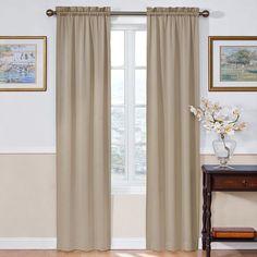 eclipse Thermapanel Room Darkening Curtain, Beig/Green (Beig/Khaki)
