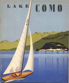 Lake Como, 1938 Vintage deco poster #beach #lago #riviera www.varaldocosmetica.it