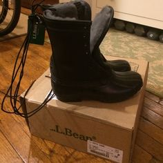 L.L.Bean shearling lined duck boots! Backordered for months!!! Special edition black on black color combo!!!  Tumbled leather. Beautiful plush gray shearling lining! Just arrived today and they're the wrong size! I already ordered myself the correct size (months more of waiting...) but if these are your size, this is your lucky day! They're a women's 8, which in Bean duck boots means they will fit if you're a size 9 or 9.5 (really! I'm an 8.5 and I wear 7 in duck boots--just totally forgot…