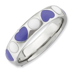 Sterling Silver Stackable Expressions Polished Purple/White Enameled Ring