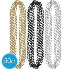 50 beads, gold, black, silver for $11.99. We can use these in the photobooth and also in the centerpieces possibly.