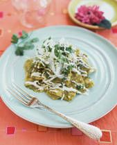 """Green Chile Chilaquiles (""""chee-lah-KEE-lays"""") are a very easy, basic Mexican dish.  Can be made with green or red chile."""