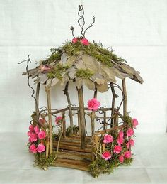 Fairy Garden Miniature Doll House ROSE Flower and Moss WOOD TWIG GAZEBO HandMade #fairygardening