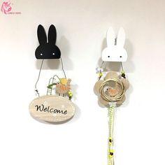 Ins Wooden Rabbit Hook commodity shelf On Wall Bunny Hangers Behind Door In Children's Room Decorate price for 1 set  by CHICO