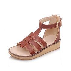 889e4ccf9ba WeiPoot Womens PU Solid Zipper Open Toe Low heels WedgesSandals Brown 34   gt  gt