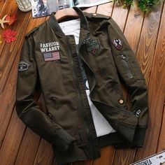 Military Jacket 2017 New Hot Selling Men Autumn Jacket Mens Spring Coat Washed with Water Cotton Jacket Leisure Fashion Jacket Mens Military Style Jacket, Denim Jacket Men, Mens Jacket Styles, Bomber Jacket Men Outfit, Man Jacket, Military Jackets, Military Man, Stylish Mens Haircuts, Stylish Mens Outfits
