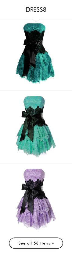 """""""DRESS8"""" by glamdoll23 ❤ liked on Polyvore featuring dresses, black lace dress, short prom dresses, short black cocktail dresses, prom dresses, strapless prom dresses, lace dress, short cocktail dresses, black prom dresses and lace prom dresses"""
