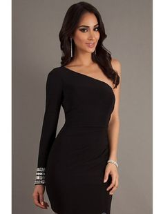 One Shoulder Long Sleeved Short Dress