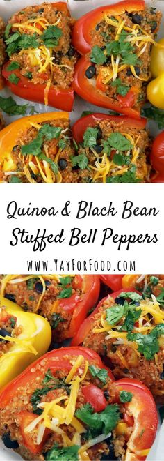 Quinoa and Black Bean Stuffed Bell Peppers An easy, healthy vegetarian recipe that is quick to put together. Sweet bell peppers are filled with fibre and protein-rich quinoa and black beans. Clean Eating Vegetarian, Vegetarian Dinners, Healthy Eating, Healthy Food, Vegetarian Breakfast, Breakfast Recipes, Easy Healthy Recipes, Veggie Recipes, Cooking Recipes