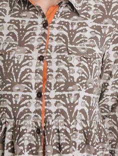 Grey-Ecru Natural Dyed Bagru Printed Cotton Tunic by Jaypore