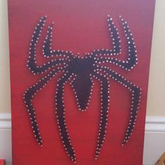 Spiderman string art for any superhero Marvel fan whether boy or girl bedroom decor. A great unique birthday gift heART of Sarah: STRING ART