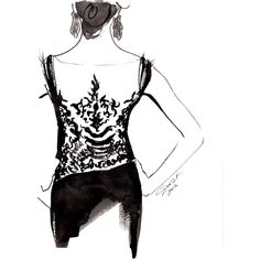 Sexy Back print version, Watercolor and India Ink Fashion Illustration...