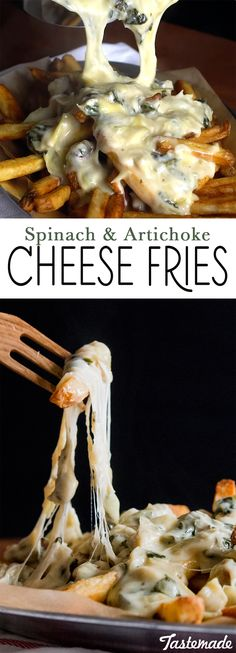 Get epic cheese pulls with these spinach and artichoke cheese fries. Try this recipe with our #Dominex Eggplant Fries.