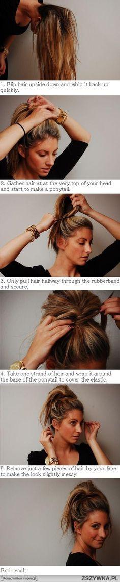 messy bun ponytail hairstyle