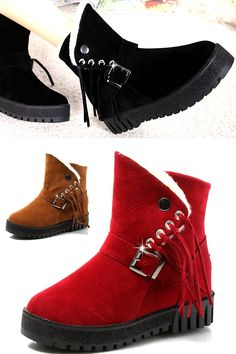 Buy Winter Cotton Shoes Warm Snow Boots Soft Comfortable Short Boots Fringed Boots Red Belt Buckle All-match Shoe for Women at Wish - Shopping Made Fun Warm Snow Boots, Red Belt, Latest Fashion Design, Fringe Boots, Wish Shopping, Short Boots, Timberland Boots, Belt Buckles, Cotton