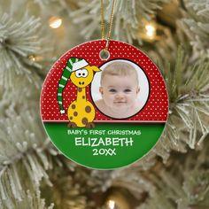 Christmas Photo Cards, Christmas Card Holders, Holiday Cards, Babies First Christmas, Christmas Baby, Xmas, Giraffe Decor, Giraffe Baby, Personalized Photo Ornaments