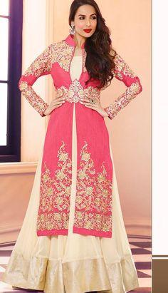Fashionable Indian Pink Georgette Anarkali Suit, Dress