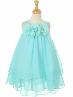 Mint Chiffon Dress with Hand-Rolled Flowers - Blue / Turquoise Flower Girl DressesMint Chiffon Dress with Hand-Rolled Flowers But In White http://www.mygirldress.com/flowergirldress-pd1215.html