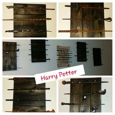 Harry Potter Wand Displays! My awesome fiancé, Brandon made the wooden displays (scroll is from Universals Islands of Adventure)