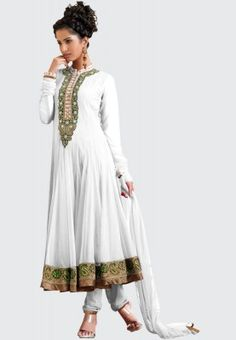 Full Sleeve Embellished White Churidar Kameez Dupatta - A white coloured suit set for women from Barcode 91. Made from net, it consists of churidar, Anarkali kameez with shantoon lining and dupatta. The flared-fit kameez has full sleeves, mandarin collar and midi length.