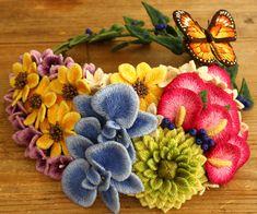 2014年作品No7 フェルト刺繍のヘッドドレス~華の音(musical scale of flowers)~ : 赤いキノコの手芸(ビーズ・フェルト刺繍PieniSieniのブログ)