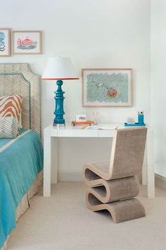 West Elm Parsons Desk in a Bedroom by Annsley Interiors.   i love everything about this, including this headboard!