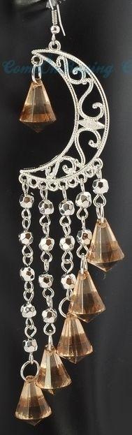 Silver cresent long dangle fringe bead moon earrings