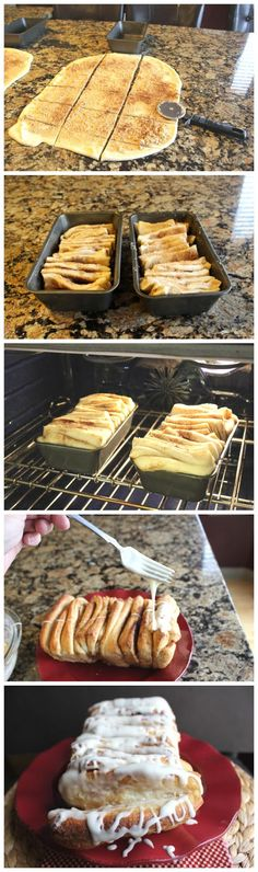 Cinnamon Pull-A-Part Bread - using Cinnabon sugar filling, puff pastry and cream cheese icing as a glaze