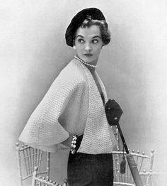 INSTANT PDF Vintage Knitting Pattern Unique Ladies Cape Jacket Shawl Sweater High Fashion Design Vintage Knit Crochet Pattern $3