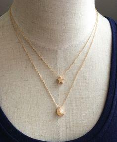 Eslabón de la cadena de joyería de moda de Nueva aleación de cobre estrella luna N1671 capa colgante de collar de regalo para mujer mayor de la muchacha