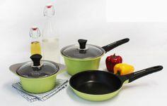 LittleCook Mini Pot Set Frying Pan 5piece Cookware Kitchen Ceramic Coating Gree