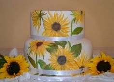 Hand Painted cake with sunflowers