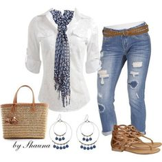 Something kind of similar...worn cropped/capris with white button up, scarf, and sandals