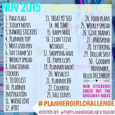Starts today! Remember if you participate in all thirty days then you are automatically entered to win stickers! Check my previous post for giveaway rules!  #PLANNERGIRLCHALLENGE