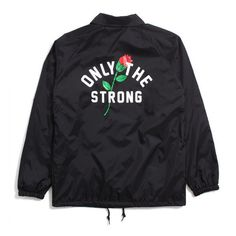 Motivation Only The Strong Coach's Jacket Black ($80) ❤ liked on Polyvore featuring outerwear, jackets, patch jacket and embroidered jacket
