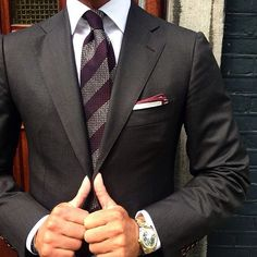 Male Fashion Trends — raimildoperoti:   Red striped grenadine tie &...