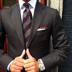 Raimildo Peroti - Red striped grenadine tie & handrolled burgundy...