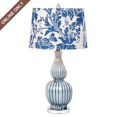 Blue Ceramic Gourd Table Lamp