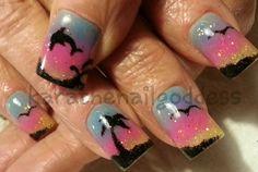 Bahamas, dolphin, acrylics, nail art