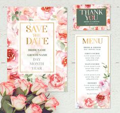 Beautiful Danni. Edit the text in Microsoft word. Perfect for a spring time wedding. soft watercolor roses with a hint of green.