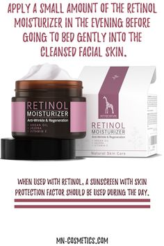 Apply a small amount of the Retinol Moisturizer in the evening before going to bed gently into the cleansed facial skin. Vitamin E, Retinol Creme, Anti Aging, Anti Wrinkle, Natural Living, Sunscreen, Natural Skin Care, Natural Remedies, Healthy Life