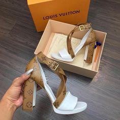 shoes, heels, and Louis Vuitton image Dream Shoes, Crazy Shoes, Me Too Shoes, Heeled Boots, Shoe Boots, Shoes Sandals, Lv Heels, Sandals Outfit, Zapatillas Louis Vuitton