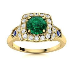 Look at this spectacular vintage Emerald ring in 14k Yellow Gold. Stunning round gemstone in the centre with brilliant round pave set diamonds around the centre stone. 4 round sapphires glimmer on the shoulder adding to the show stopping look of this magnificient piece. Emerald Ring Vintage, Vintage Rings, Natural Emerald Rings, Love Ring, Ring Designs, Centre, Sapphire, Gemstone Rings, Diamonds
